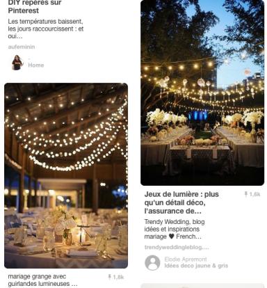 """Capture d'écran d'une page Pinterest pour la requête """"Fairy lights"""""""